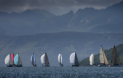 Sailing - The 2007 Bell Lawrie Scottish Series hosted by the Clyde Cruising Club, Tarbert, Loch Fyne.<br /> Day 2 racing with light to medium winds from the North west.<br /> The Arran Hills making an impressive backdrop to the racing. Class 1 IRC fleet on the Graham Technology fleet