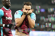 Mark Noble, West Ham United captain celebrates after scoring his sides 1st goal from a penalty. Premier league match, West Ham Utd v Hull city at the London Stadium, Queen Elizabeth Olympic Park in London on Saturday 17th December 2016.<br /> pic by John Patrick Fletcher, Andrew Orchard sports photography.
