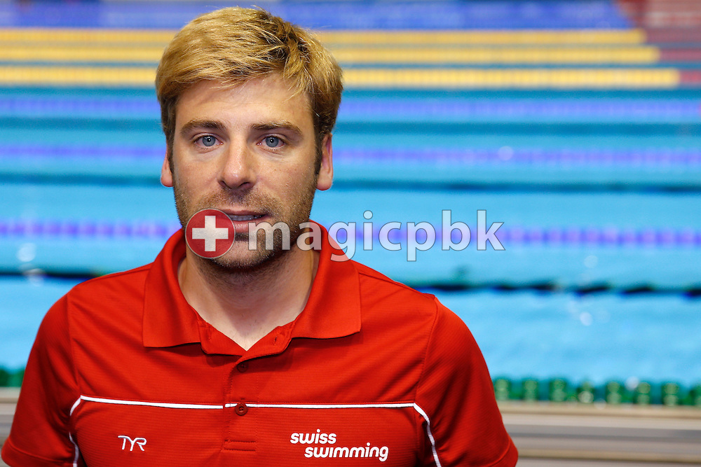 Swiss Swimming media manager Matthias VAUTHIER of Switzerland poses for a photo during the LEN European Swimming Championships at Europa-Sportpark in Berlin, Germany, Sunday, Aug. 24, 2014. (Photo by Patrick B. Kraemer / MAGICPBK)