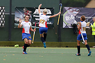 Bogdana Sadovaia of Russia (l) celebrates with teammates after she scores her teams 1st goal. Wales v Russia, semi final,  EuroHockey 11 Women's championshp 2017 in Cardiff, South Wales , Friday 11th August 2017<br /> pic by Andrew Orchard