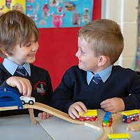 Rory Croke and Rory Mahon play together on their First day at school at Scoil Na Mainistreach Quin Dangan