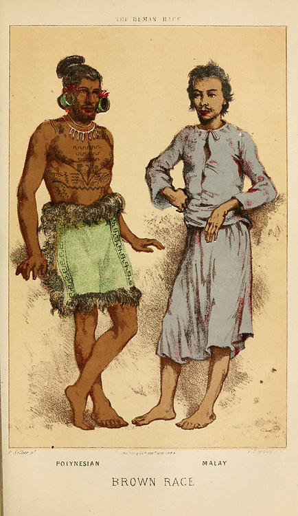Polynesian (Left) and Malay men standing Hand painted engraving on wood From The human race by Figuier, Louis, (1819-1894) Publication in 1872 Publisher: New York, Appleton