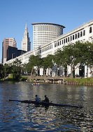 Rowers on the Cuyahoga River in Cleveland, Ohio