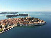 Aerial view of the shore of the coast Rovinj, Croatia