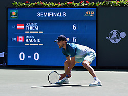 March 16, 2019 - Indian Wells, CA, U.S. - INDIAN WELLS, CA - MARCH 15: Dominic Thiem (AUT) waits for a serve in the first set of a semifinals match played during the BNP Paribas Open at the Indian Wells Tennis Garden in Indian Wells, CA.  (Photo by John Cordes/Icon Sportswire) (Credit Image: © John Cordes/Icon SMI via ZUMA Press)