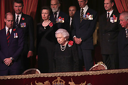 Queen Elizabeth II with members of the royal family during the annual Royal British Legion Festival of Remembrance at the Royal Albert Hall in London, which commemorates and honours all those who have lost their lives in conflicts.