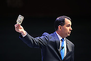 Republican presidential candidate Gov. Scott Walker speaks at the Heritage Foundation Take Back America candidate forum September 18, 2015 in Greenville, South Carolina. The event features 11 presidential candidates but Trump unexpectedly cancelled at the last minute.