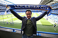 Aiyawatt Srivaddhanaprabha, the Leicester City vice chairman and co Owner holds up a Leicester City scarf inside Stamford Bridge before k/o. Barclays Premier league match, Chelsea v Leicester city at Stamford Bridge in London on Sunday 15th May 2016.<br /> pic by John Patrick Fletcher, Andrew Orchard sports photography.