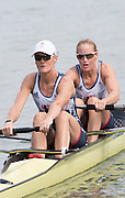 """Rio de Janeiro. BRAZIL.  GBR W2-, Bow Helen GLOVER and Heather STANNING, moving away from the start at the 2016 Olympic Rowing Regatta. Lagoa Stadium,<br /> Copacabana,  """"Olympic Summer Games""""<br /> Rodrigo de Freitas Lagoon, Lagoa.   Monday  08/08/2016 <br /> <br /> [Mandatory Credit; Peter SPURRIER/Intersport Images]"""