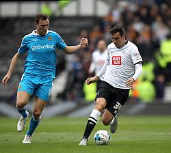 George Thorne of Derby County holds off Kevin McDonald of Wolverhampton Wanderers - Mandatory byline: Robbie Stephenson/JMP - 07966 386802 - 18/10/2015 - FOOTBALL - iPro Stadium - Derby, England - Derby County v Wolverhampton Wanderers - Sky Bet Championship
