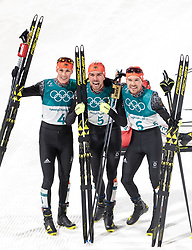 20.02.2018, Alpensia Cross-Country Skiing Centre, Pyeongchang, KOR, PyeongChang 2018, Nordische Kombination, Langlauf, im Bild v.l. Johannes Rydzek (GER, 1. Platz), Fabian Riessle (GER, 2. Platz), Eric Frenzel (GER, 3. Platz) // f.l. gold medalist and Olympic champion Johannes Rydzek of Germany silver medalist Fabian Riessle of Germany bronce medalist Eric Frenzel of Germany during Nordic Combined, Cross Country of the Pyeongchang 2018 Winter Olympic Games at the Alpensia Cross-Country Skiing Centre in Pyeongchang, South Korea on 2018/02/20. EXPA Pictures © 2018, PhotoCredit: EXPA/ Johann Groder