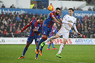 Federico Fernandez of Swansea city ® heads just wide of goal. Barclays Premier league match, Swansea city v Crystal Palace at the Liberty Stadium in Swansea, South Wales on Saturday 6th February 2016.<br /> pic by Andrew Orchard, Andrew Orchard sports photography.