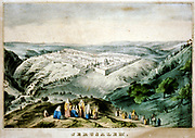 Bird's-eye view of Jerusalem showing it as a walled city sited on the top of a hill.  19th century