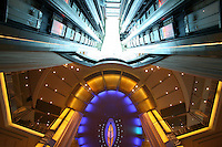 Celebrity Solstice, the most widely heralded ship to enter the cruise industry this year, sets sail from Papenburg Germany, where she was built.  This is the first of 5 Solstice class ships Celebrity Cruises will launch between now and 2012 and the first cruise ship with an authentic grass lawn on its top deck...View up a lift atrium.