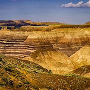 USA, West, Southwest, AZ, Arizona, Petrified Forest, Blue Mesa, Layers and striations of spectacular Blue Mesa in Petrified Forest National Park, AZ.