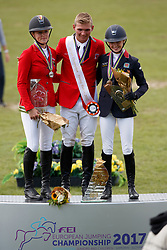 Individual podium, Young Riders, Balsiger Bryan, SUI, Tebbel Justine, GER, Inglis Amy, GBR<br /> Young Riders European Championships Jumping <br /> Samorin 2017© Hippo Foto - Dirk Caremans<br /> 13/08/2017,