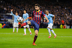 Barcelona Midfielder Cesc Fabregas (ESP) controls the ball on the edge of the box - Photo mandatory by-line: Rogan Thomson/JMP - Tel: 07966 386802 - 18/02/2014 - SPORT - FOOTBALL - Etihad Stadium, Manchester - Manchester City v Barcelona - UEFA Champions League, Round of 16, First leg.