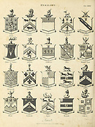 Baronets Heraldry is a discipline relating to the design, display and study of armorial bearings (known as armory), as well as related disciplines, such as vexillology, together with the study of ceremony, rank and pedigree. Armory, the best-known branch of heraldry, concerns the design and transmission of the heraldic achievement. The achievement, or armorial bearings usually includes a coat of arms on a shield, helmet and crest, together with any accompanying devices, such as supporters, badges, heraldic banners and mottoes. Copperplate engraving From the Encyclopaedia Londinensis or, Universal dictionary of arts, sciences, and literature; Volume IX;  Edited by Wilkes, John. Published in London in 1811