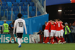 June 19, 2018 - SãO Petersburgo, Rússia - SÃO PETERSBURGO, MO - 19.06.2018: RUSSIA VS EGYPT - Mohamed Salah observes a celebration of Russia's pla afs after the goal during the match between Russia and Egypt vafor the 2018 World Cup held at Zenit Arena ina in St. Petersburg, Russia. (Credit Image: © Ricardo Moreira/Fotoarena via ZUMA Press)