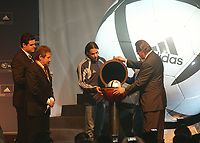 LISBOA-29 NOVEMBRO 2003:NUNO GOMES, player of S.L.Benfica helps GERAHARD HAIGNER executive director of UEFA  to open the Roteiro vault 29/11/2003, in the photo from left to rigth GILBERTO MADAIL (President of the EURO 2004),NUNO GOMES (S.L.Benfica), SIMÃO SABROSA (S.L.Benfica) and GERAHARD AIGNER (E.D. UEFA); ADIDAS presents the official ball for the EURO 2004 in FILL auditorium-Lisbon<br />(PHOTO BY: AFCD/NUNO ALEGRIA)