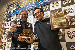 Custom Works Zon's Yuichi Yoshizawa accepts Low Ride Magazine's Pick from Giuseppe Roncen for their 2004 Ducati Monster S4R at the