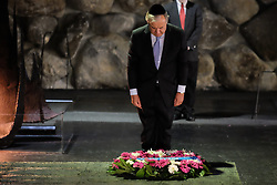 August 28, 2017 - Jerusalem, Israel - United Nations Secretary General ANTONIO GUTERRES rekindles the Eternal Flame and lays a wreath as he partakes in a memorial ceremony in the Hall of Remembrance. Guterres toured the Holocaust Museum, participated in a memorial ceremony, visited the Children's Memorial and signed the museum guest book. This four-day visit to Israel and the Palestinian Authority is Guterres' first trip to the Middle East since assuming his post on January 1st, 2017. (Credit Image: © Nir Alon via ZUMA Wire)