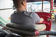 Tuk Tuk driver in traffic of central city area of Colombo, Sri Lanka, Asia