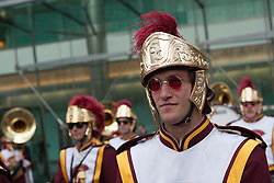 © licensed to London News Pictures. London, UK 17/05/2012.The Trojan Marching Band of the University of Southern California comes to Canary Wharf for the first time performance in Canada Square Park this evening (17/05/12). Photo credit: Tolga Akmen/LNP