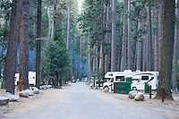 RV's parked in Lower Pines Campground in Yosemite National Park, Ca.