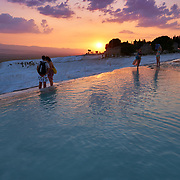 Sunset Over Pamukkale Travertines, Turkey