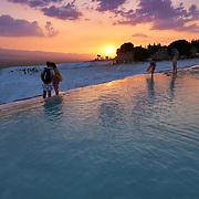 Sunset Over Pamukkale Travertines, Turkey