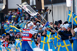 March 16, 2019 - Falun, SWEDEN - 190316  Stina Nilsson of Sweden celebrates after the Women's cross-country skiing sprint final during the FIS Cross-Country World Cup on march 16, 2019 in Falun  (Credit Image: © Daniel Eriksson/Bildbyran via ZUMA Press)