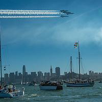 The Blue Angels perform over San Francisco Bay during Fleet Week, October 2018.