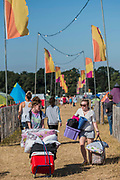 The last morning and people begin to pack their cars - The 2018 Latitude Festival, Henham Park. Suffolk 15 July 2018