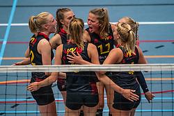 Lisa Harmsen #12 of Utrecht, Bianca Gommans #11 of Utrecht in action in the first Topdivision match between Booleans/ VV Utrecht - SOMAS/Activia on September 19, 2020 in Utrecht.