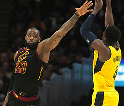 April 29, 2018 - Cleveland, OH, USA - Cleveland Cavaliers forward LeBron James guards a three-point attempt from Indiana Pacers guard Victor Oladipo in the third quarter of Game 7 of the Eastern Conference First Round series on Sunday, April 29, 2018 at Quicken Loans Arena in Cleveland, Ohio. The Cavs won the game, 105-101. (Credit Image: © Leah Klafczynski/TNS via ZUMA Wire)