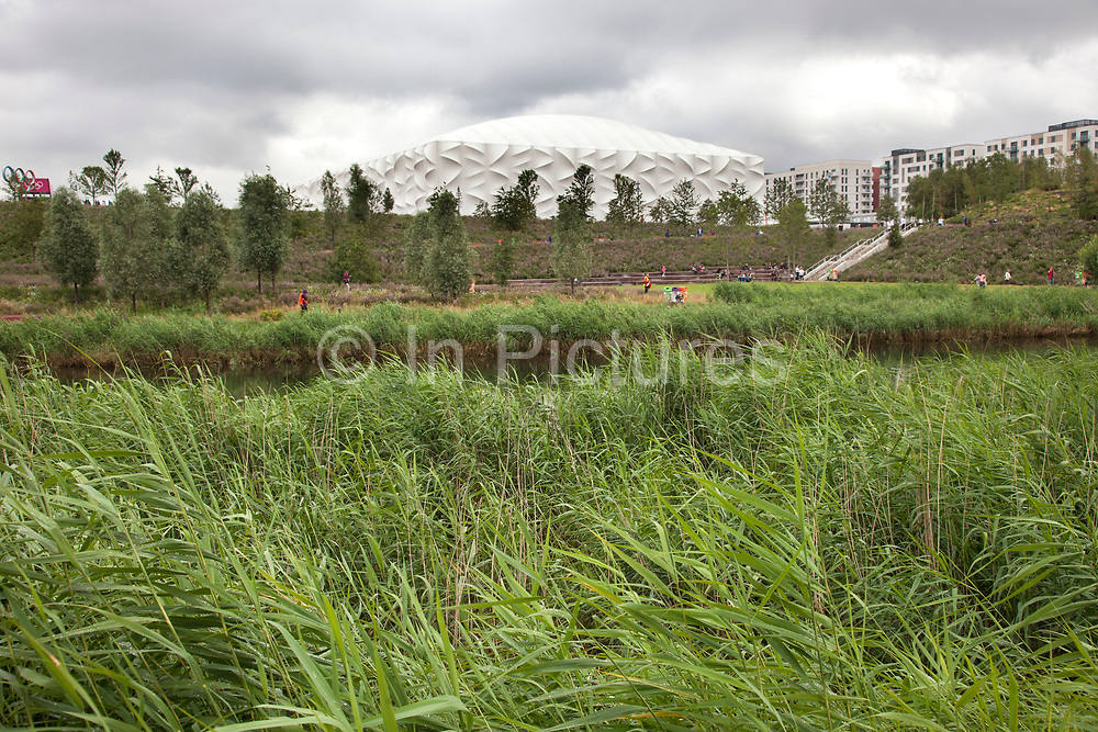 London 2012 Olympic Park in Stratford, East London. The Basketball Arena. Affectionately known as 'The Matress' this is an eco building designed to be taken apart and used for other tournaments in other locations.