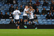 Tottenham's Paulinho ® celebrates after he scores the 2nd  goal. Capital one cup 3rd round match, Aston Villa v Tottenham Hotspur at Villa Park in Birmingham on Tuesday 24th Sept 2013. pic by Andrew Orchard, Andrew Orchard sports photography.