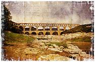 Pont-du-Gard, Gard, France. - Forgotten Postcard digital art European Travel collage
