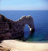 Coastline scenery with natural arch landform of Durdle Door, Dorset, southern England, UK