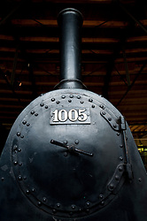 Old steam locomotives and trains on display at Deutsches Technikmuseum in Berlin Germany