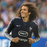 PARIS, FRANCE - September 10: Matteo Guendouzi #6 of France during team warm up before the France V Andorra, UEFA European Championship 2020 Qualifying match at Stade de France on September 10th 2019 in Paris, France (Photo by Tim Clayton/Corbis via Getty Images)