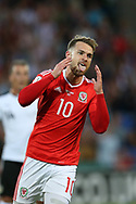 Aaron Ramsey of Wales reacts after missing a chance to score. Wales v Austria , FIFA World Cup qualifier , European group D match at the Cardiff city Stadium in Cardiff , South Wales on Saturday 2nd September 2017. pic by Andrew Orchard, Andrew Orchard sports photography