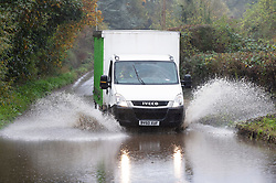 ©Licensed to London News Pictures 21/10/2020  <br /> Crockenhill,, UK. Wet driving conditions and flooded roads at Crockenhill in Kent today. The Met office has issued a severe weather warning for the UK as storm Barbara comes in from Spain bringing winds and torrential rain. Photo credit:Grant Falvey/LNP