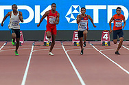 Rossene Mpingo (Ivory Coast), Jonathan Bardottier (Mauritius), Bleu Michael Perez (Guam), Don Motellang (Marshall Islands), 100m Men - Preliminary Round, Heat 3, during the 2019 IAAF World Athletics Championships at Khalifa International Stadium, Doha, Qatar on 27 September 2019.