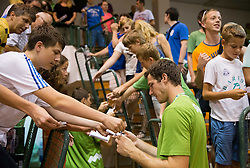 Goran Dragic of Slovenia with fans after the friendly match between National teams of Slovenia and Republic of Macedonia for Eurobasket 2013 on July 28, 2013 in Litija, Slovenia. Slovenia defeated Macedonia 63-54. (Photo by Vid Ponikvar / Sportida.com)