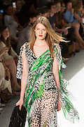 Gauzy gown in a black, white and green jungle print. By Carlos Miele at the Spring 2013 Mercedes-Benz Fashion Week in New York.