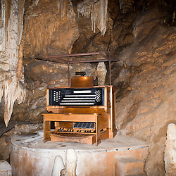 October 5, 2013- Luray, Virginia- Located in the Cathedral of Luray Caverns is the Great Stalacpipe Organ, the world's largest musical instrument. Stalactites covering 3 1/2 acres of the surrounding caverns produce tones of symphonic quality when electronically tapped by rubber-tipped mallets. This one-of-a-kind instrument was conceived by Mr. Leland W. Sprinkle of Springfield, Virginia, a mathematician and electronics scientist at the Pentagon. Since it's discovery in 1878 by a tinsmith and a local photographer, visitors by the millions have made Luray Caverns the most popular cave in Eastern America.<br />  <br /> 4,000,000 centuries in the making beneath Virginia's storied Shenandoah Valley, the surrounding stalactite formations cover more than three acres.