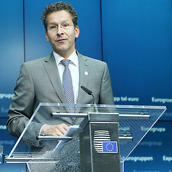 22 June 2015 - Belgium - Brussels - Jeroen Dijsselbloem, president of the Eurogroup during his closing press conference about the Greek financial situation.   © Fotogloria / Scorpix / Patrick Mascart