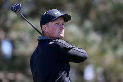 Marcus Kinhult tees off during day four of the Betfred British Masters at Hillside Golf Club, Southport.